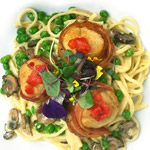 Bacon Wrapped Scallops with Linguine, Peas, Wild Mushrooms in a Marsala Cream Sauce